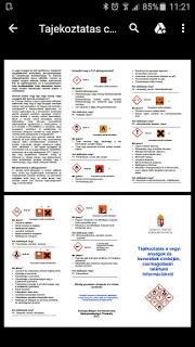 Tájékoztatás a vegyi anyagok és keverékek cimkéjén és csomagolásán található információkr